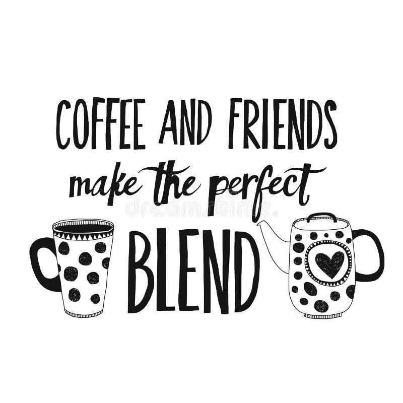 Literowanie z wycena o kawie ilustracja wektor