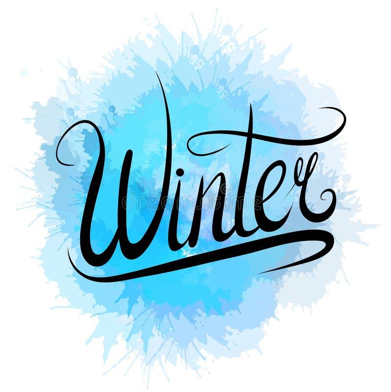 Literowanie zima pisać z błękitną akwarelą ręcznie bryzga napis kaligraficzna ilustracja wektor
