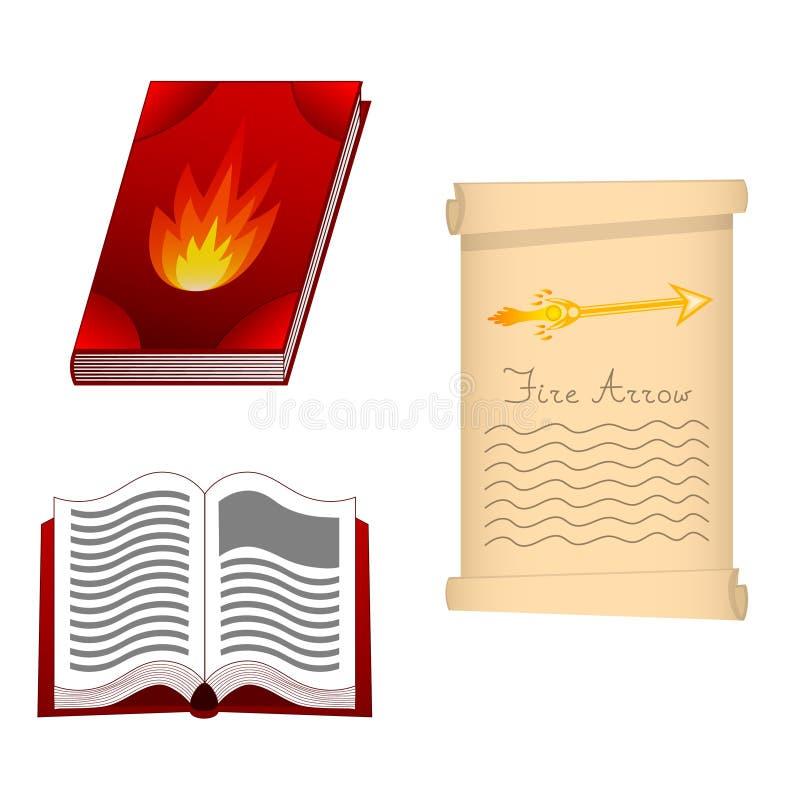Literuje książkę pożarniczy element dla Twój projekta, gra, karta Pożarnicza strzała Antyczna książka z mistyczka zachwytami i cz ilustracja wektor