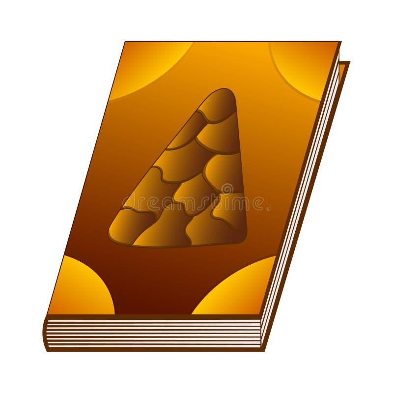 Literuje książkę ziemski element dla Twój projekta, gra, karta Antyczna książka z alchemia przepisami, mistyczka zachwyty i czary ilustracja wektor