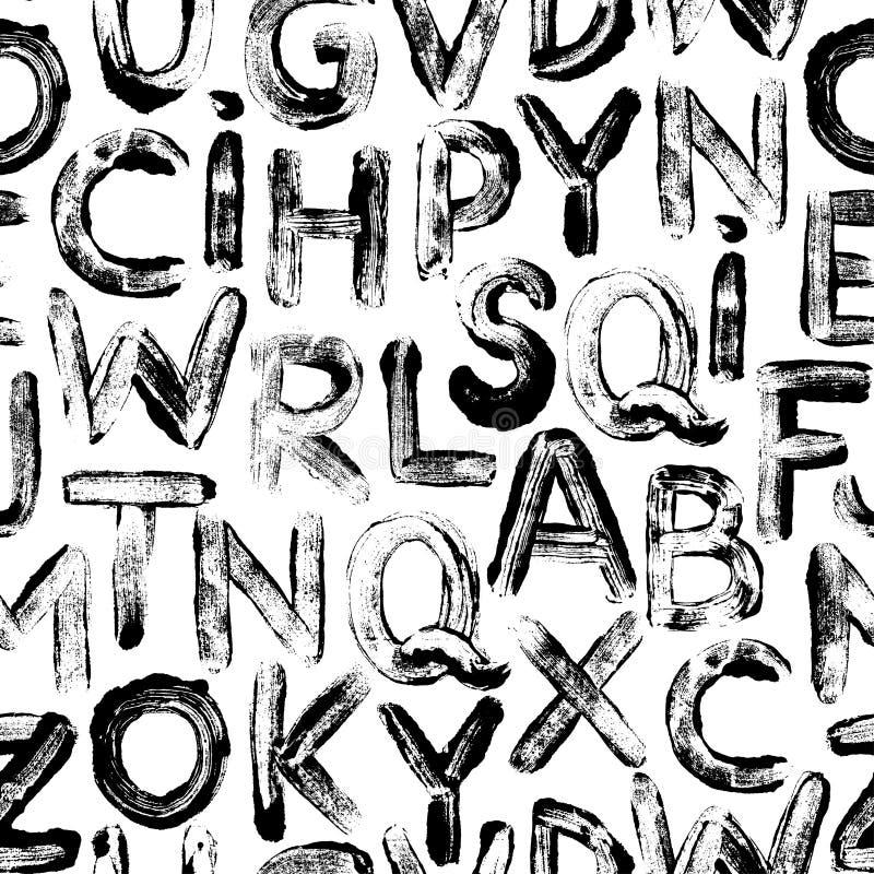 Litery alfabetu w stylu graffiti — wzorzec bez szwu Tło chrząknięcia naręcznego ilustracji