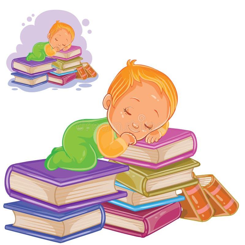 Litet barn för vektor i glidare som spelar med en hög av böcker och sovande faller på dem stock illustrationer