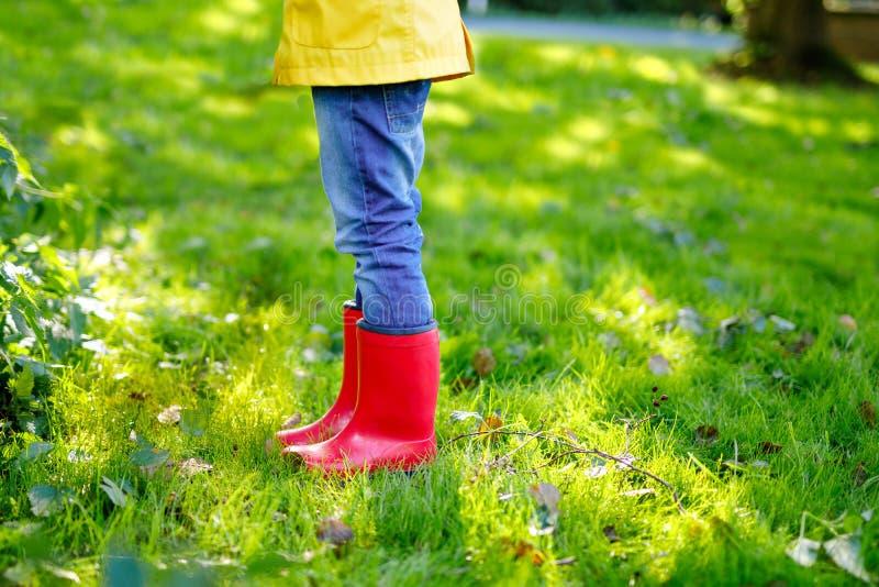 Litet barn i färgrika regnkängor Närbild av skola eller förskole- ben av den ungepojken eller flickan i olika gummistöveler royaltyfria foton