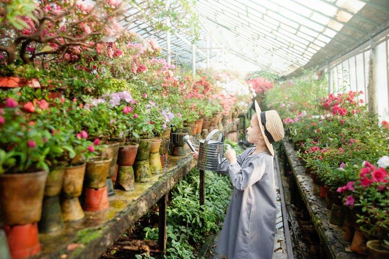Litet barn med blommakorgen Hållande rosa färgblommor för flicka royaltyfri foto