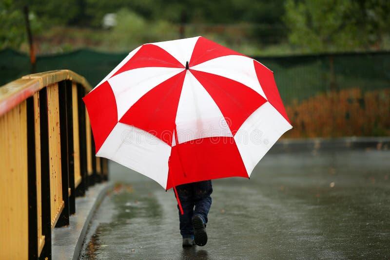 Litet barn med ett stort paraply royaltyfria bilder