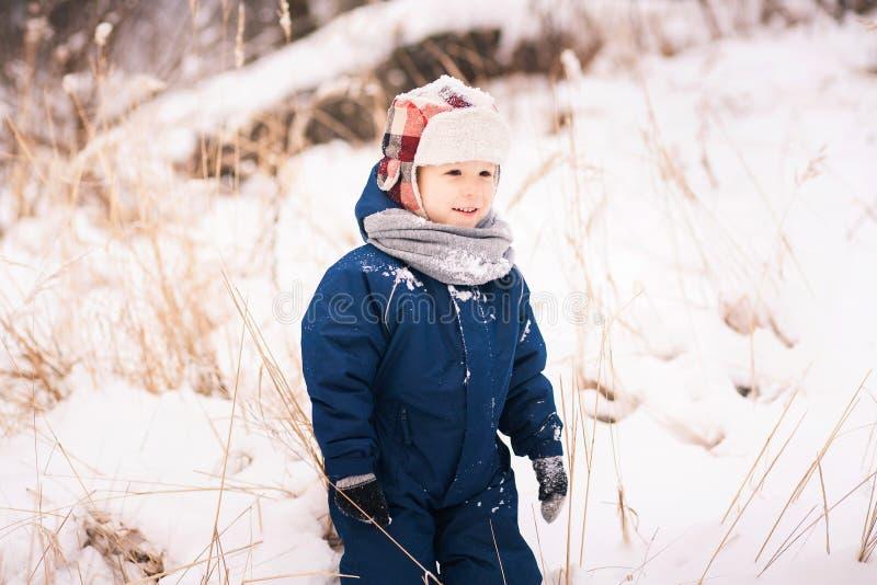 Litet barn som går den ensamma yttersidan i snöig trä för vinter royaltyfri fotografi