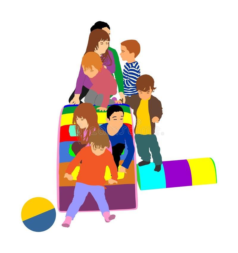 Litet barnbarn glider ner illustrationen Ungar får ner på kälken Inomhus lekplatsfödelsedagberöm stock illustrationer