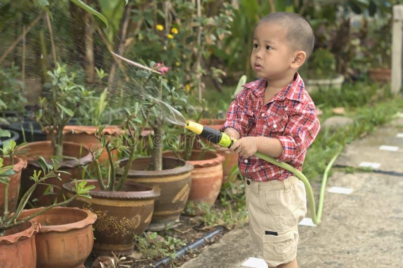 Litet barnhjälp som bevattnar blomkrukor arkivfoton