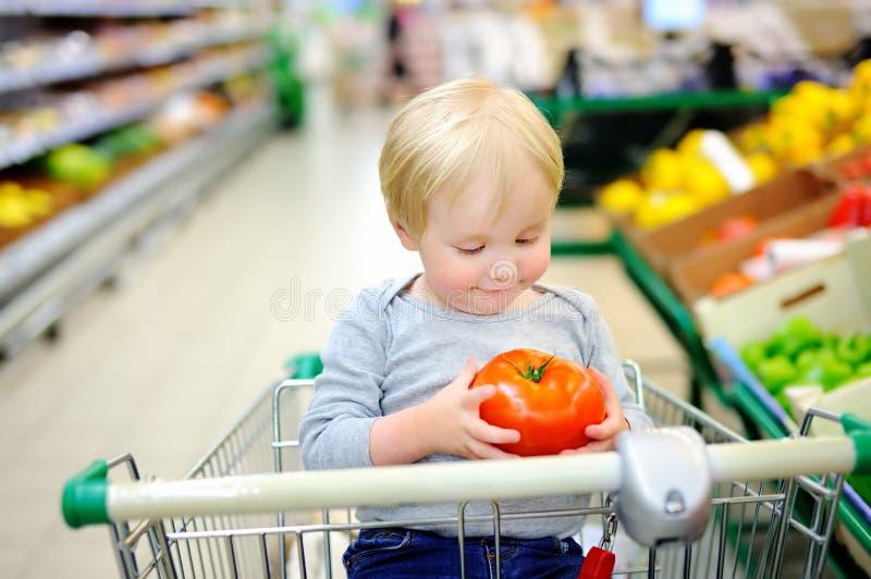 Litet barnpojkesammanträde i shoppingvagnen i ett matlager royaltyfria bilder