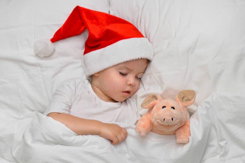 Litet behandla som ett barn att sova på vit linne i jultomtenhatten med hans leksaksvin, som är symbolet av året 2019 royaltyfri foto