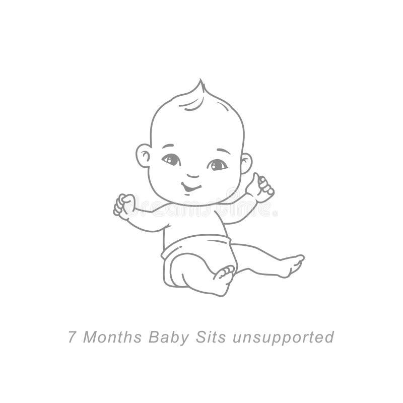 Litet behandla som ett barn av 4 månad Behandla som ett barn infographic tillväxt och utveckling royaltyfri illustrationer