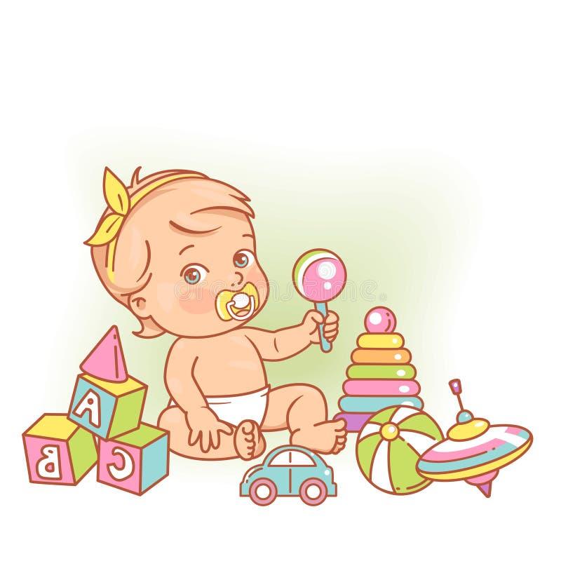 Litet behandla som ett barn flickan i sittande spela för blöja med leksaker royaltyfri illustrationer