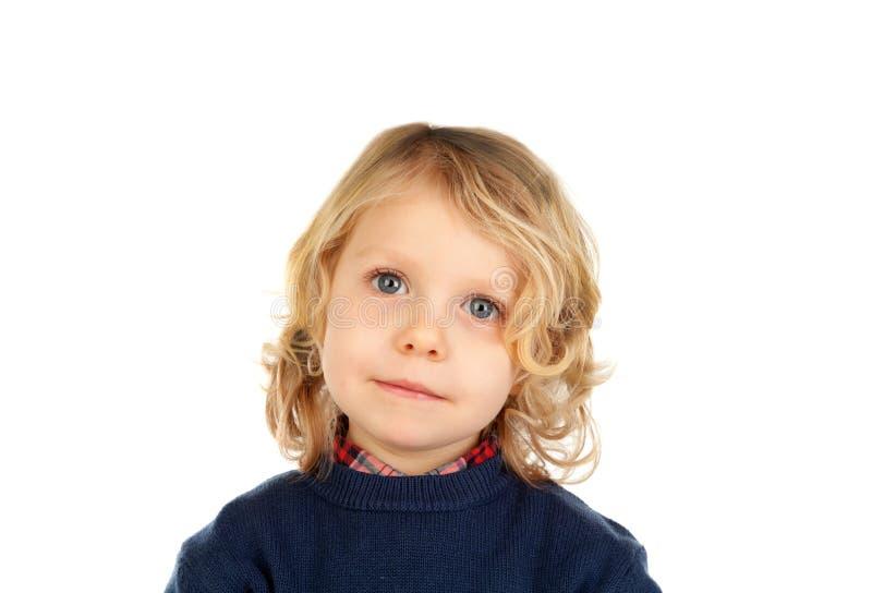 Litet blont barn med fyra år royaltyfri foto