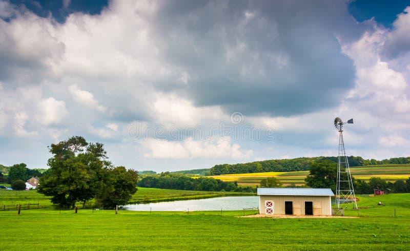 Litet damm på en lantgård i lantliga York County, Pennsylvania royaltyfri foto