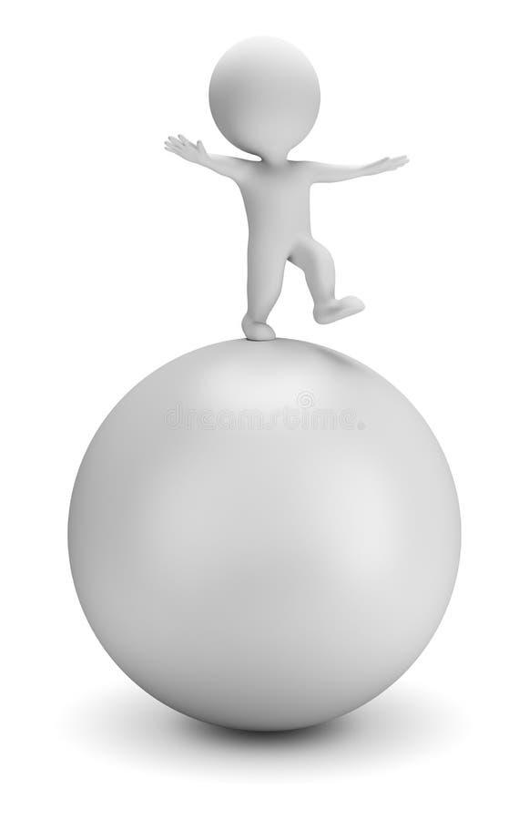 litet folk 3d - balanserar på bollen vektor illustrationer