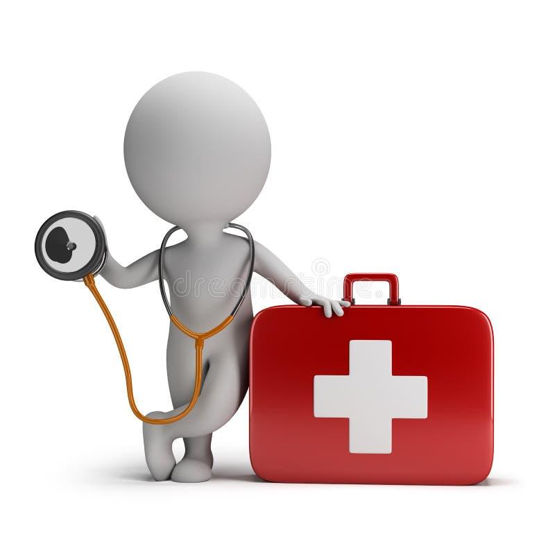 litet folk 3d - stetoskop- och läkarundersökningsats stock illustrationer