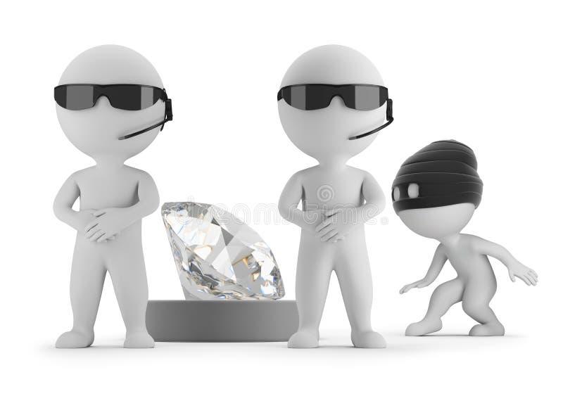 litet folk 3d - tjuven önskar att stjäla en diamant royaltyfri illustrationer