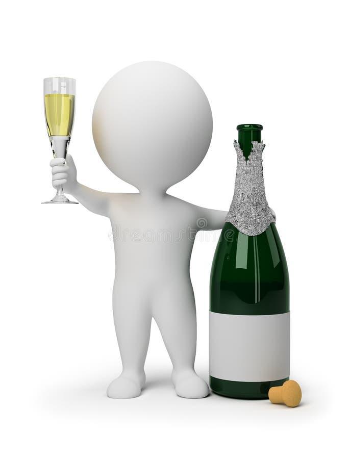 litet folk för champagne 3d royaltyfri illustrationer