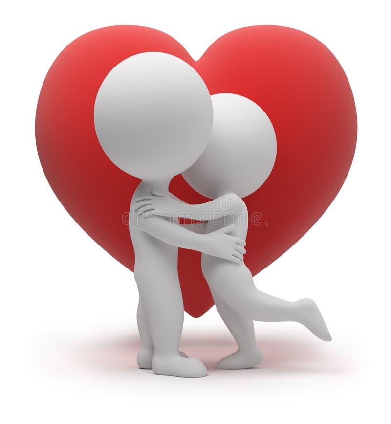 litet folk för förälskelse 3d stock illustrationer