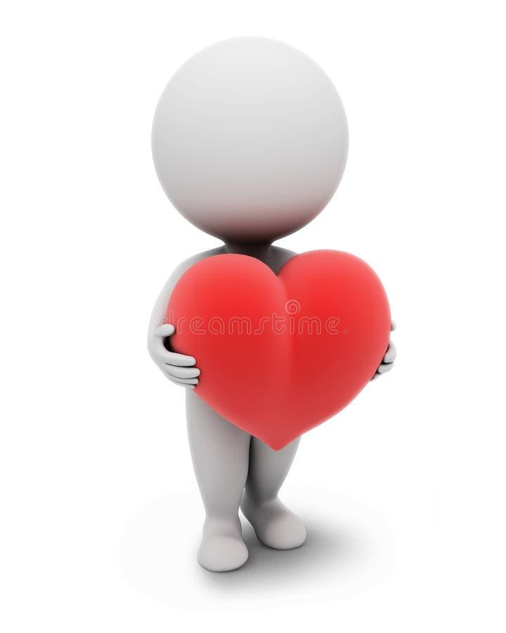 litet folk för hjärta 3d vektor illustrationer