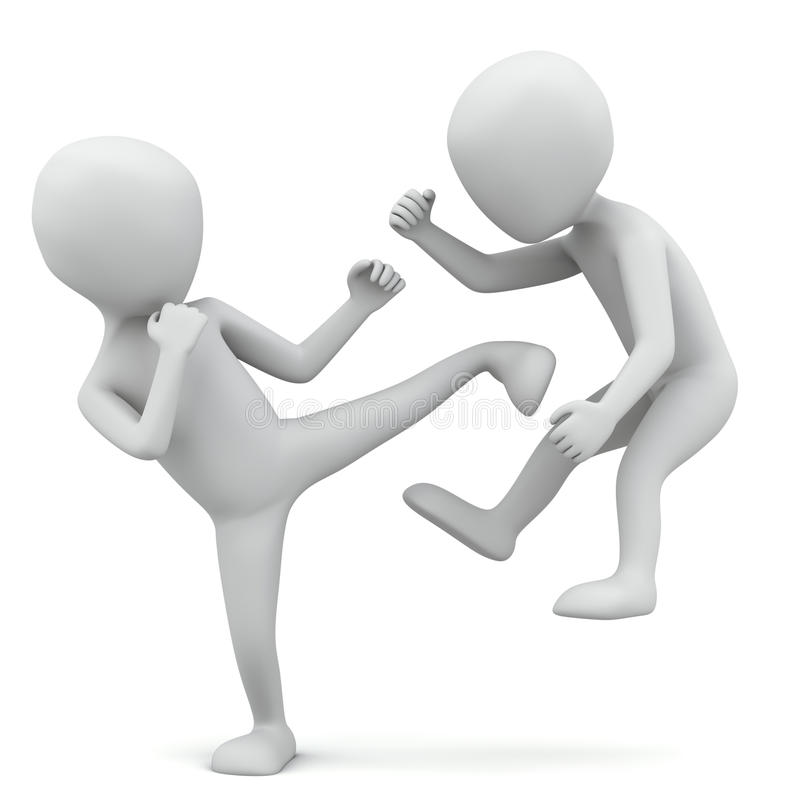 litet folk slåss 3d. royaltyfri illustrationer