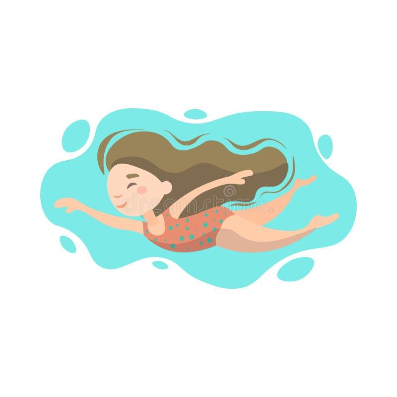 Litet gulligt simma för flicka som är undervattens- i havet, hav, simbassäng Begrepp för sommarferie som isoleras på vit bakgrund royaltyfri illustrationer