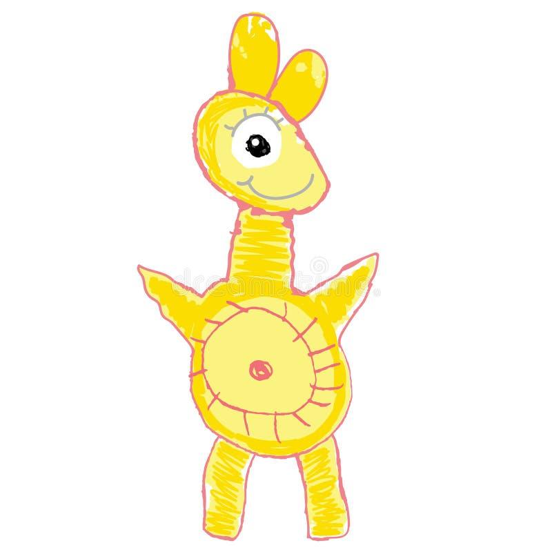 Litet gult monster barn som tecknar s Tecknad illustration f?r vektor hand royaltyfri illustrationer