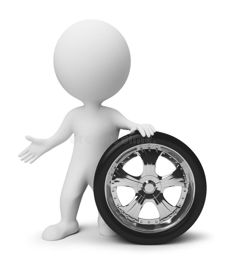 litet hjul för folk 3d stock illustrationer