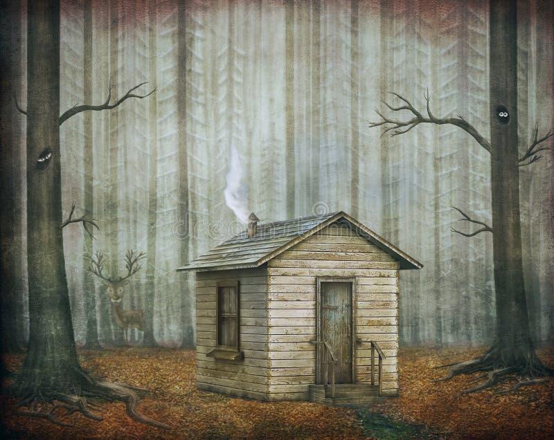 Litet hus i sagaskog vektor illustrationer