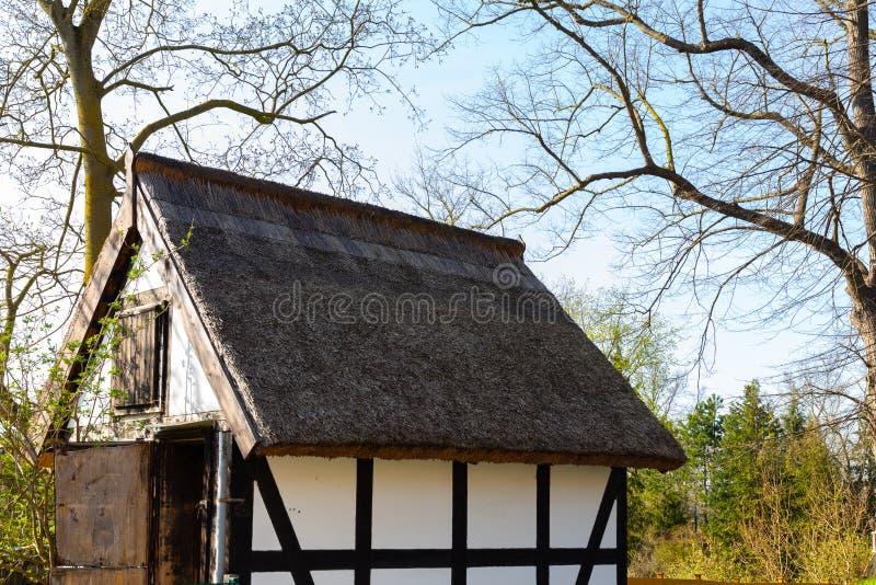 Litet hus med det halmtäckte taket nära skog fotografering för bildbyråer