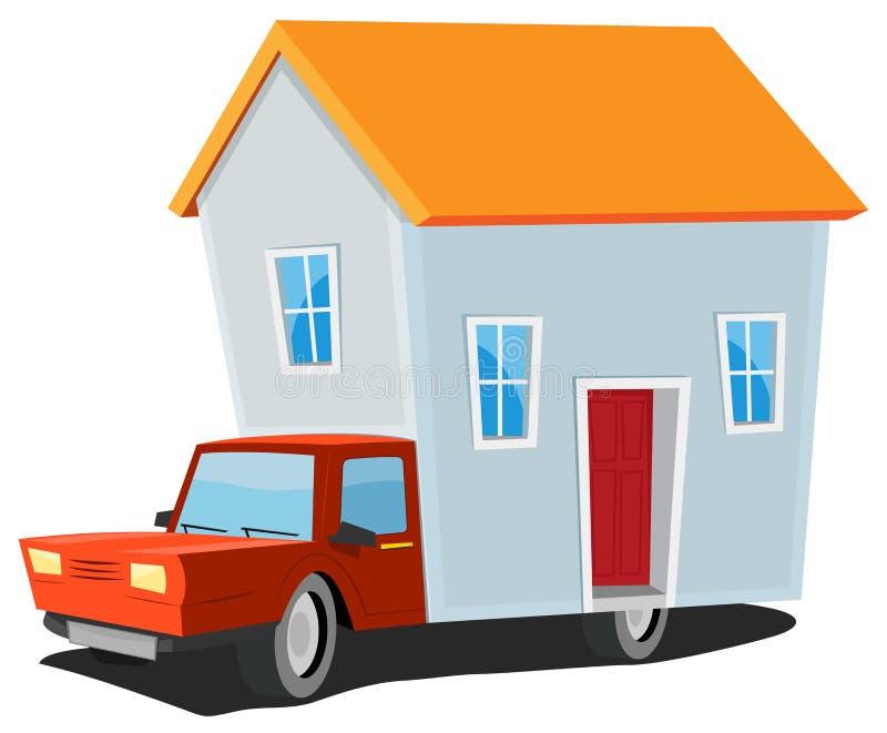 Litet hus på leveranslastbilen royaltyfri illustrationer