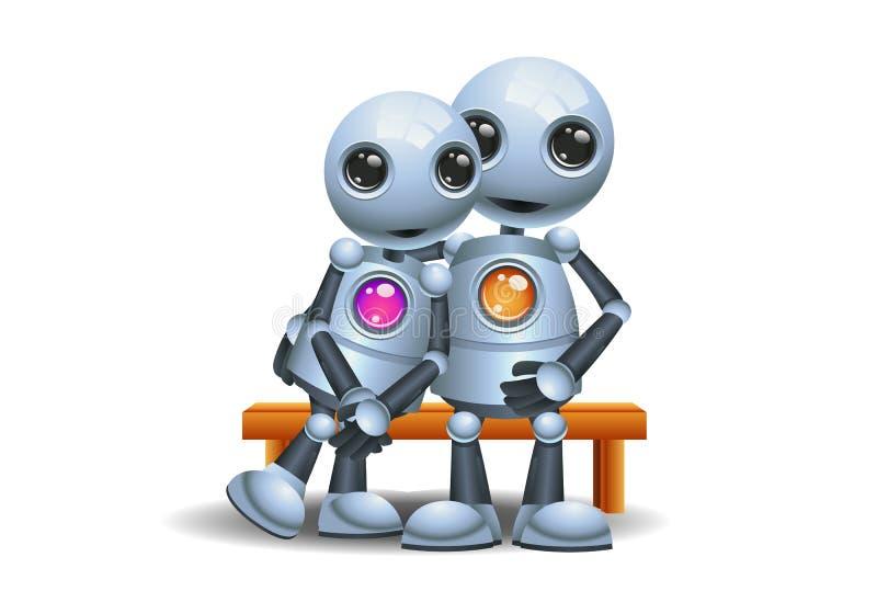 Litet krama för robot sitter på bänk vektor illustrationer