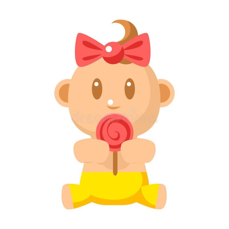 Litet lyckligt behandla som ett barn flickan i gula flåsanden som äter enkla illustrationer för en Lollypop vektor med det gullig vektor illustrationer