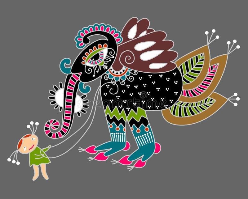 litet monster för flicka vektor illustrationer