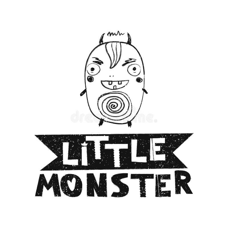 litet monster Hand dragen stiltypografiaffisch royaltyfri illustrationer