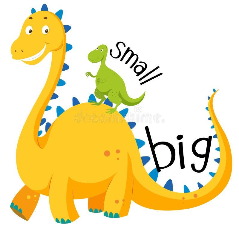 Litet motsatt adjektiv som är stort och vektor illustrationer
