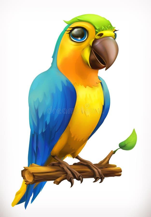 Litet papegojatecknad filmtecken Roligt djur, symbol för vektor 3d royaltyfri illustrationer
