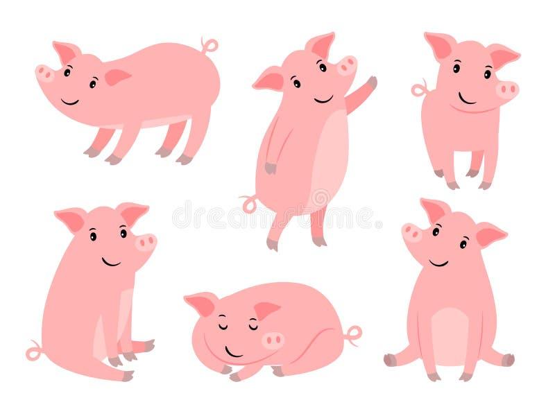 Litet piggy tecken Rolig rosa svinpojke för tecknad film som isoleras på den vita gulliga spädgrisen för julvektorillustration royaltyfri illustrationer