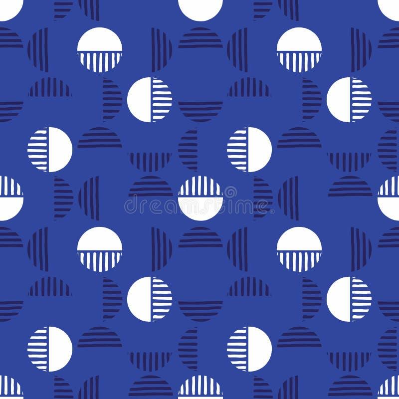 Litet Retro mörkt - blå Geo Dots And Half Dots Vector sömlös modell Modern abstrakt cirkelbakgrund stock illustrationer