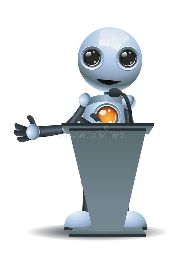 Litet robotanförande på podiet royaltyfri illustrationer