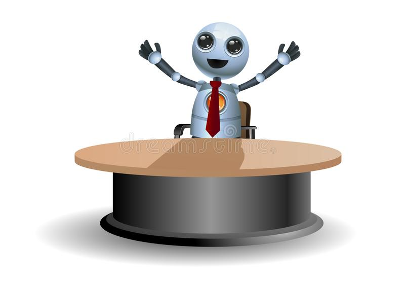Litet robotrop i lycka stock illustrationer