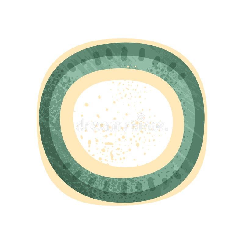 Litet runt platta eller tefat med gräsplan- och gulingmålning Keramiskt redskap för tappning Plan vektorsymbol med textur vektor illustrationer
