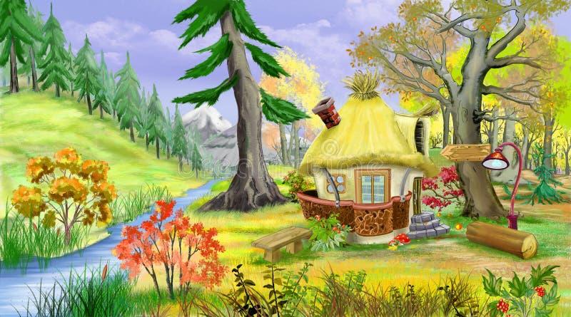Litet sagahus nära floden i Autumn Forest stock illustrationer