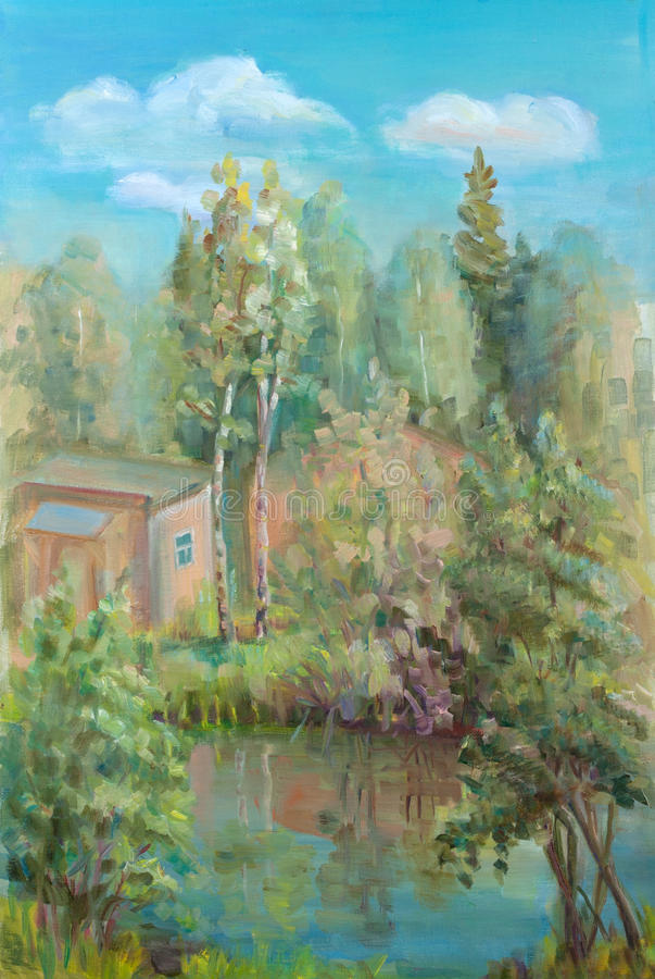 litet skogdamm stock illustrationer