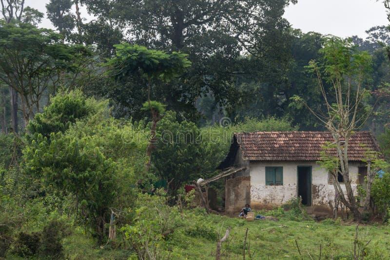 Litet stenhus i det Dubare elefantlägret, Coorg Indien arkivbilder