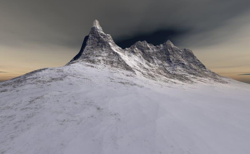 Litet stenigt berg i snön royaltyfri illustrationer