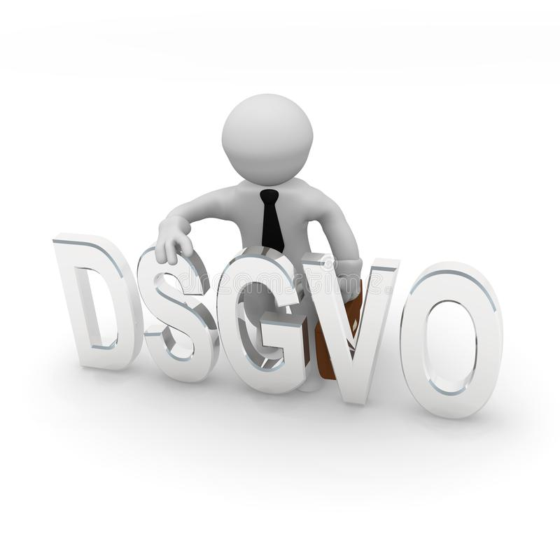 Litet tecken 3d med DSGVO royaltyfri illustrationer