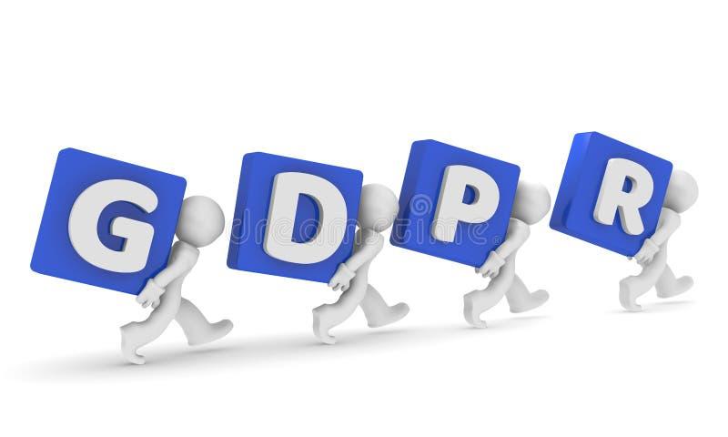 Litet tecken 3d med GDPR stock illustrationer