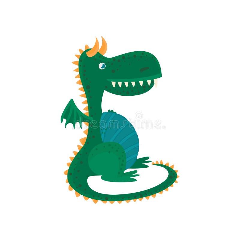 Litet tecknad filmtecken för grön drake, mytiskt djur, illustration för fantasireptilvektor royaltyfri illustrationer