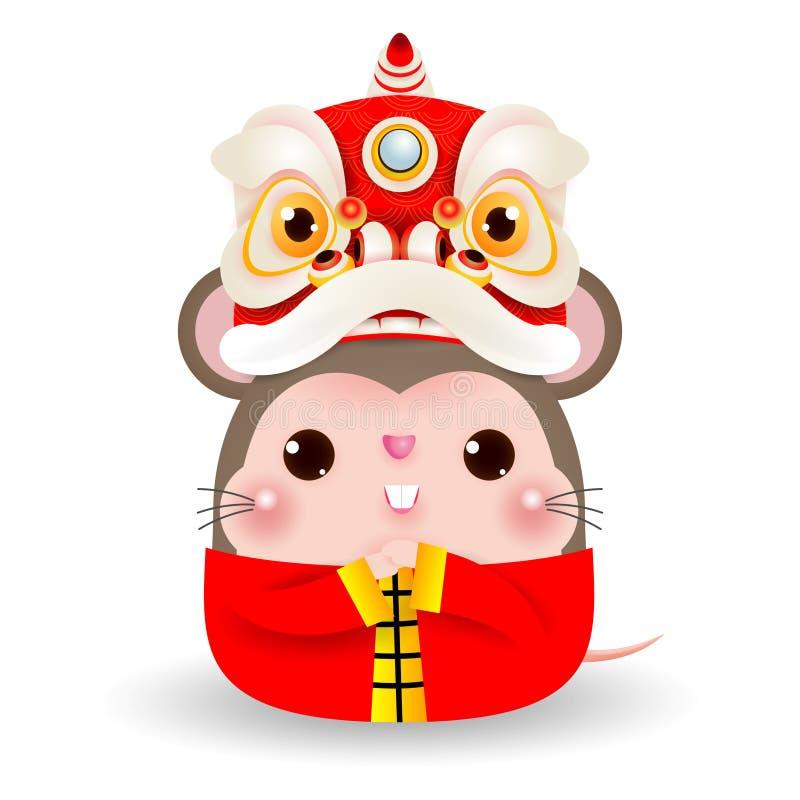 Litet tjalla med Lion Dance Head, lyckligt kinesiskt nytt år som 2020 år av tjaller zodiak, den isolerade tecknad filmvektorillus vektor illustrationer